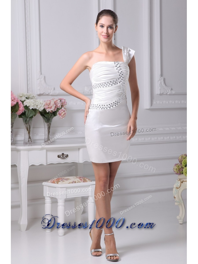 Cream Colored Beaded Ruched Short One Shoulder Prom Dress |Short ...