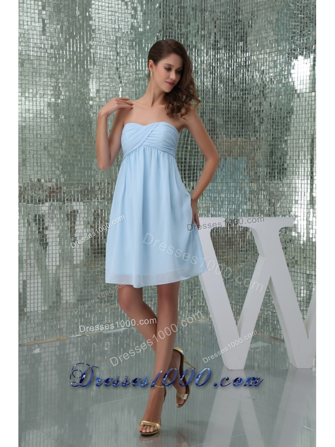 Sweetheart Ruched Baby Blue Knee-length Prom Dress for Girls