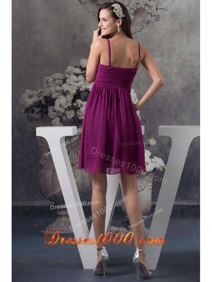 Popular Spaghetti Straps Ruched Dark Purple Short Prom Dress