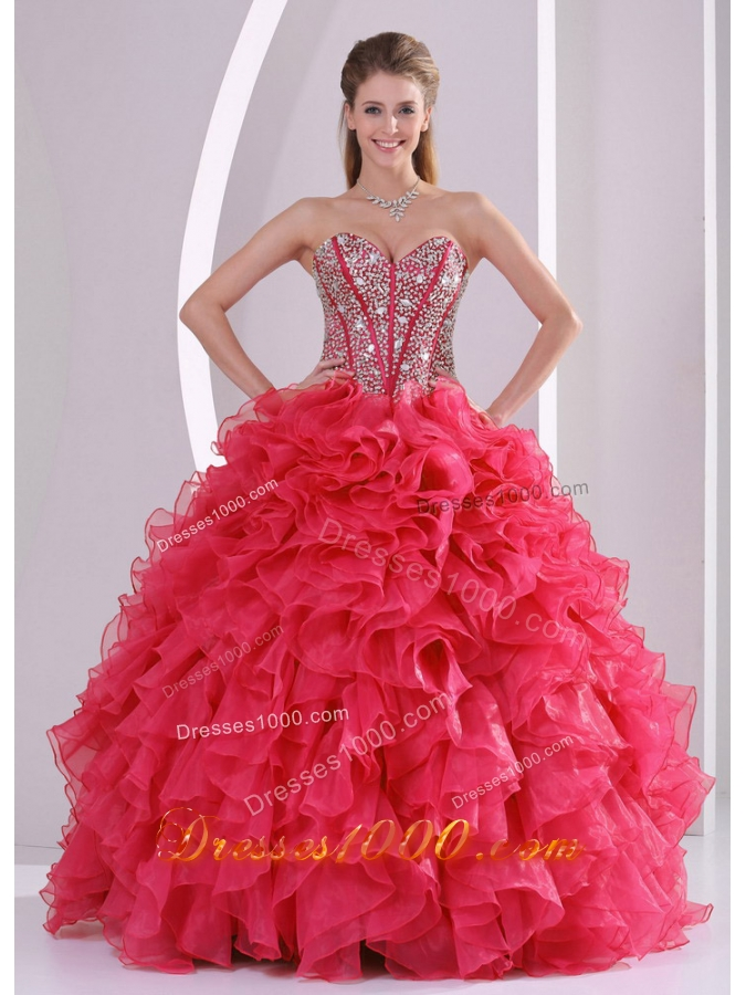 Red Ball Gown Sweetheart Ruffles and Beading Decorate Quinceanera Gowns in Sweet 16
