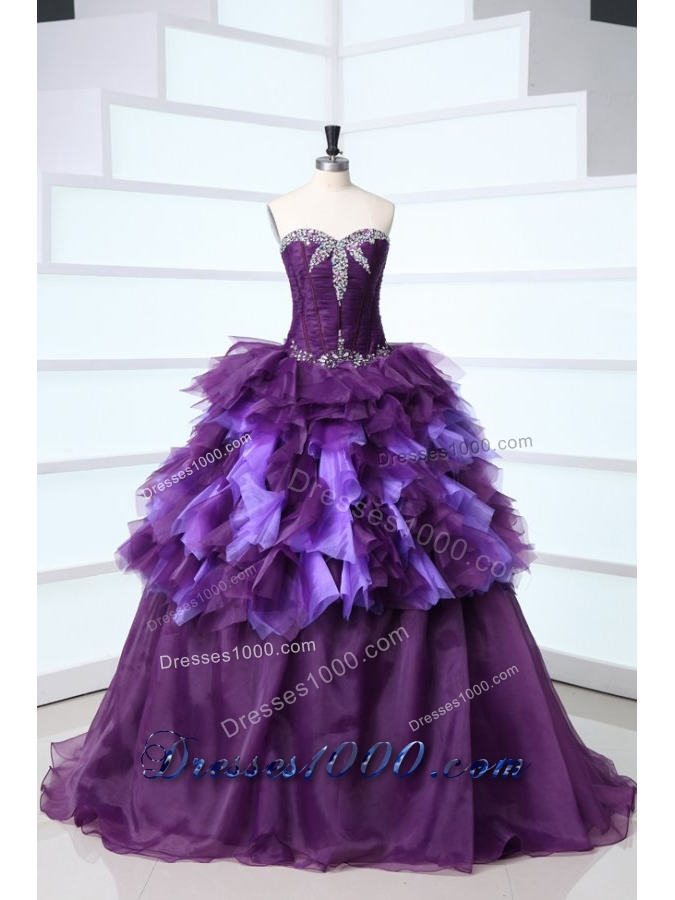 Unique Sweetheart Beading and Ruffles Sweep Train Quinceanera Dress