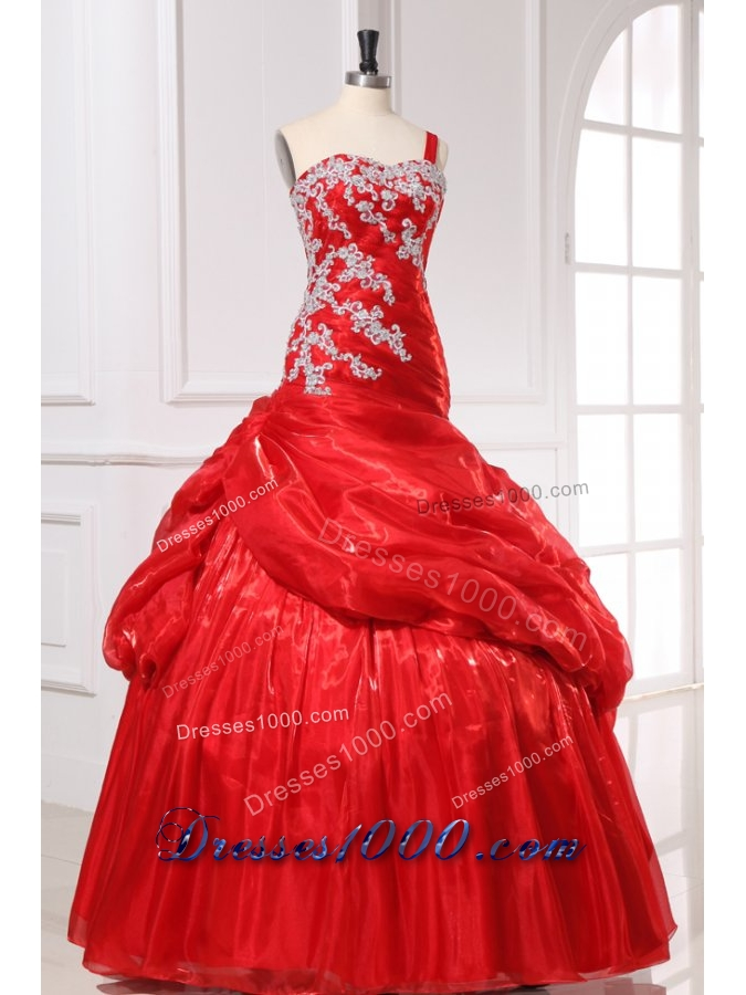 Gorgeous Red One Shoulder Organza Quinceanera Dress with Appliques
