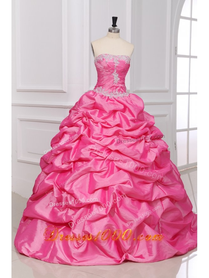 Sweet Rose Pink Strapless Appliques and Pick-ups Quinceanera Dress