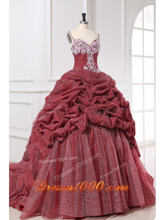 Burgundy Spaghetti Straps Appliques and Pick-ups Quinceanera Dress