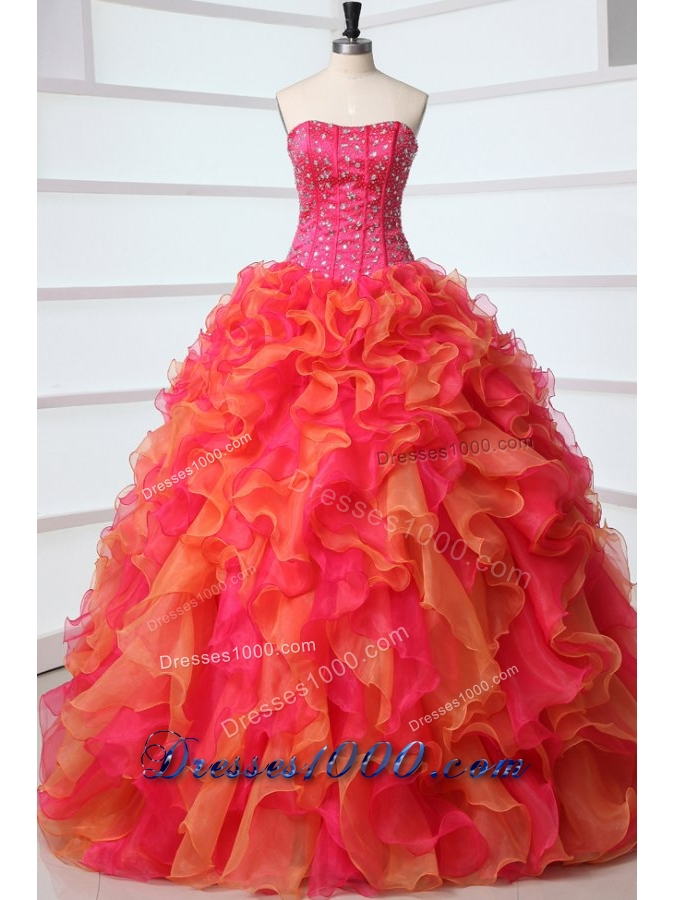 Lovely Strapless Red and Orange Red Quinceanera Dress