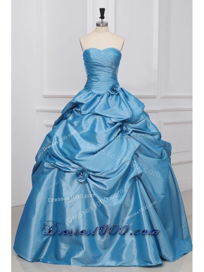 Light Blue Sweetheart Hand Made Flowers Taffeta Quinceanera Dress