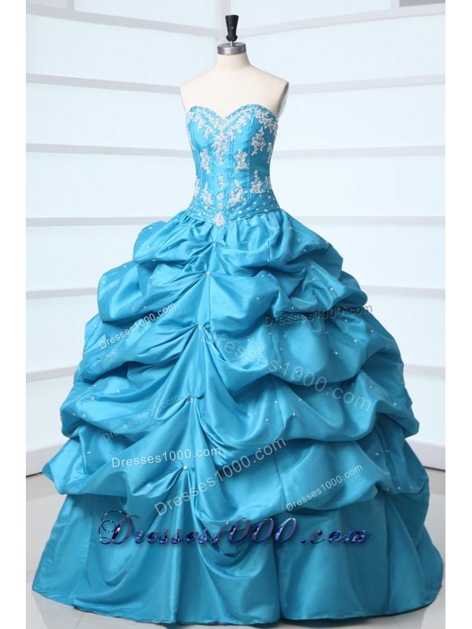 Princess Taffeta Quinceanera Dress with Appliques and Pick-ups