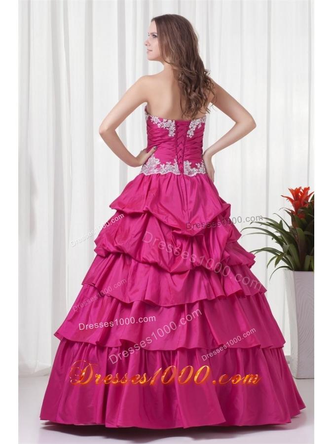 Sweetheart Fuchsia Taffeta Tiered Floor-length Quinceanera Gowns