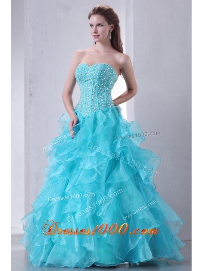 Brand New Turquoise Sweetheart Beaded and Ruffled Quinceanera Gowns