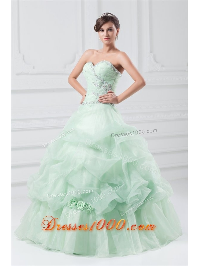 Mint Green Sweetheart Organza Ball Gown Floor-length Sweet 15 Dresses
