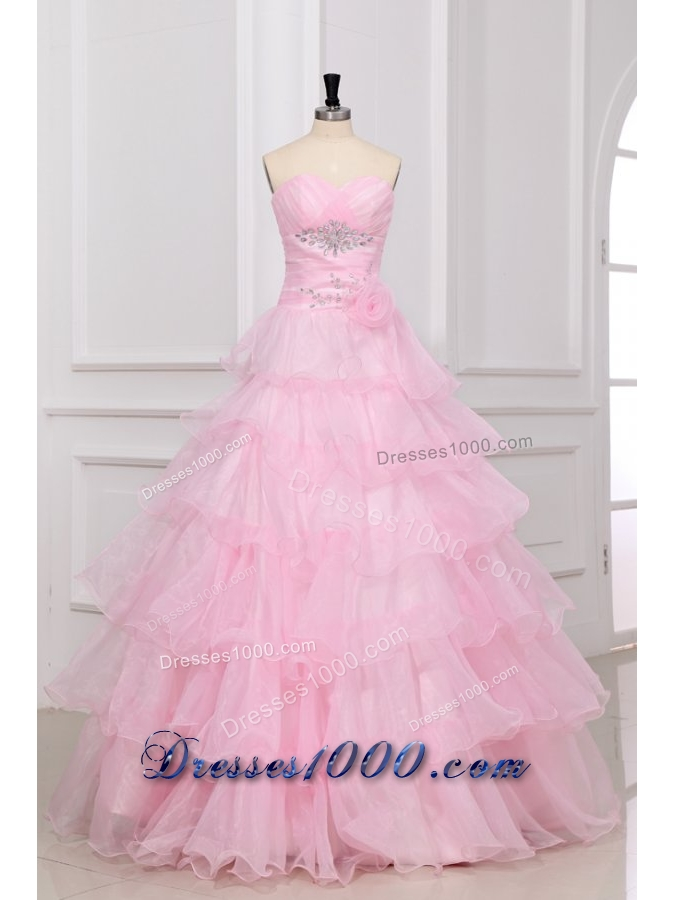 Baby Pink Ruffled Layers Puffy Organza Quinceanera Party Dresses