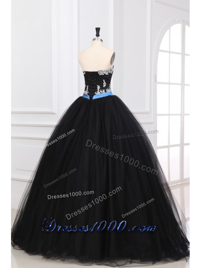 Black Ball Gown Sweet 15 Dress with Appliques and Blue Bowknot