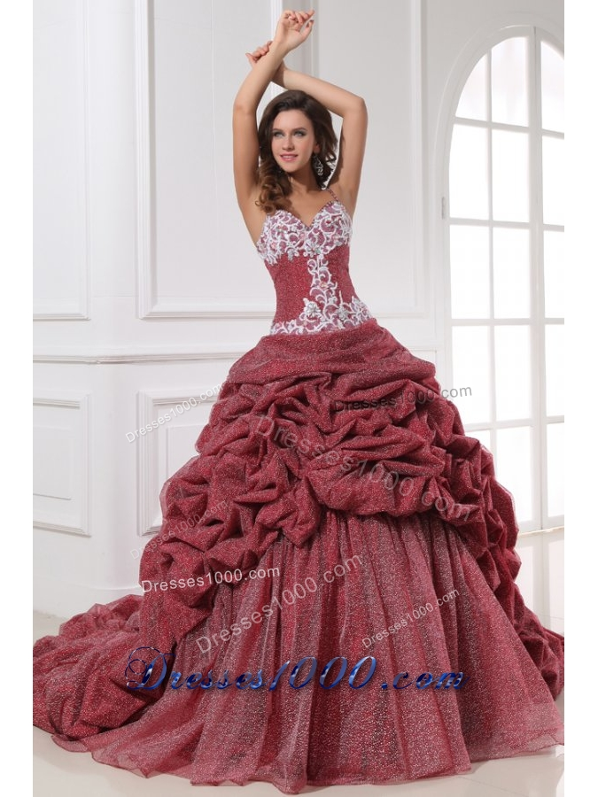 Spaghetti Straps Pick Ups and Appliques Wine Quinceanera Gown