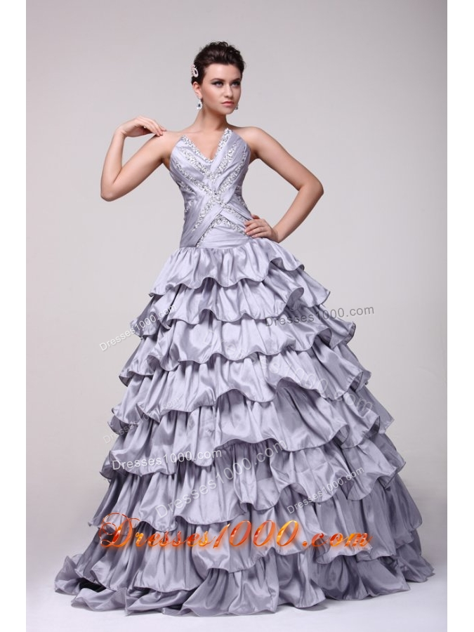 Stunning V-neck Beading and Ruffles Tiered Lavender Quinceanera Dress