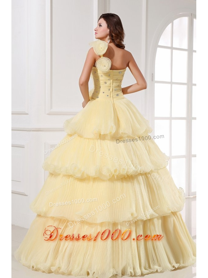 Asymmetrical Neckline Layered Light Yellow Quinceanera Dresses