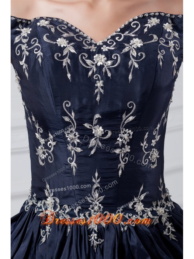 Gorgeous Navy Blue Off-Shoulder Taffeta Quinceanera Dress with Pick-up