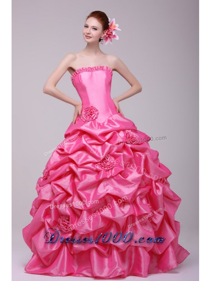 Handle Flowers and Pick Ups Bodice Rose Pink Quinceanera Dress
