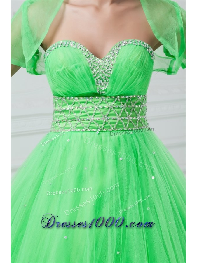 Cute Sweetheart Tulle Dresses for Sweet 16 in Spring Green