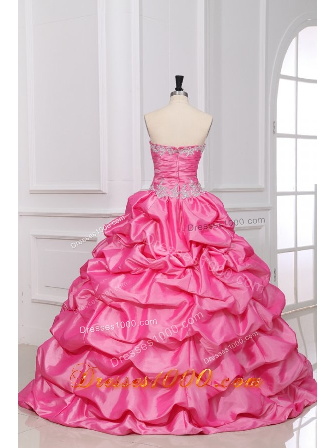Rose Pink Sweet 16th Dress with Appliques and Pick-ups in Taffeta