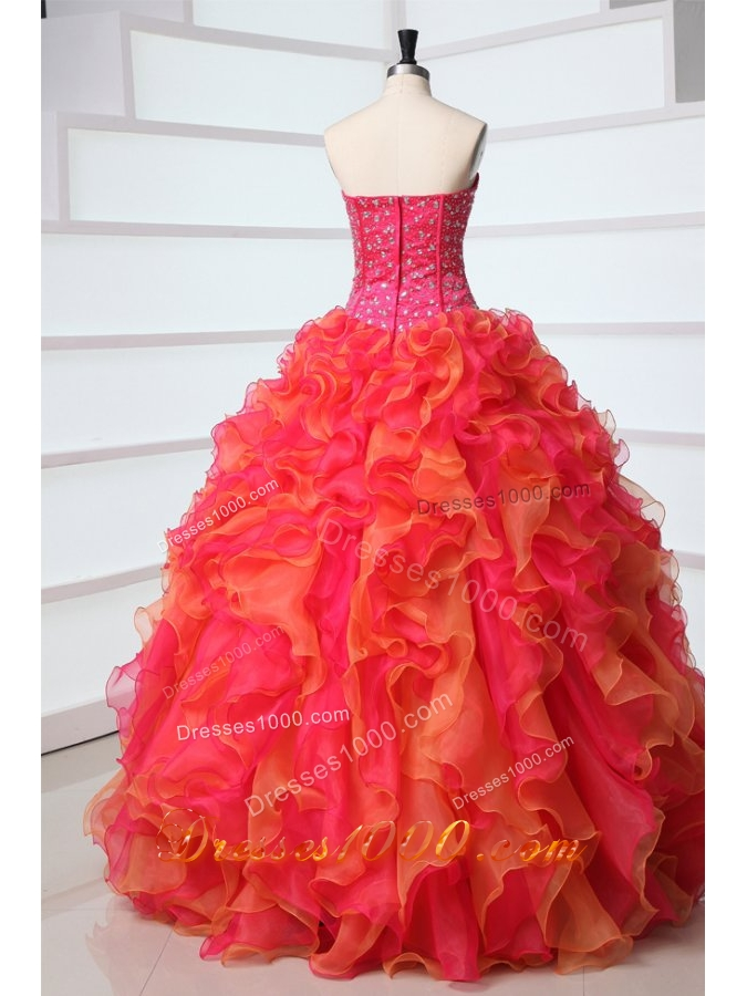 Strapless Floor-length Ruffled Hot Pink and Orange Quinceanera Gowns