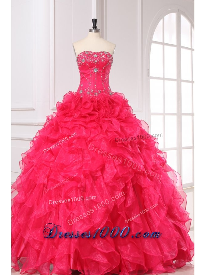 Organza Quinceanera Dress with Beading and Ruffles in Coral Red