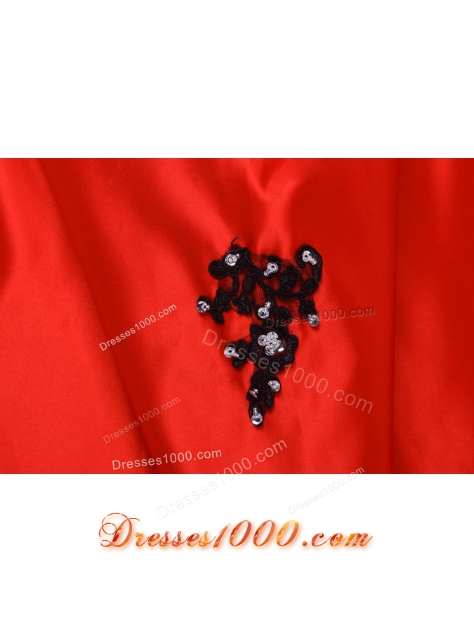 Black and Red Appliques Decorated Sweep Train Sweet 15 Dresses