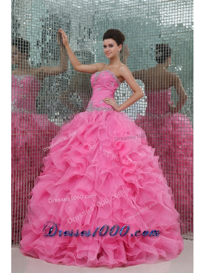 Organza Ball Gown Strapless Floor-length Ruffled Quinceanera Dresses