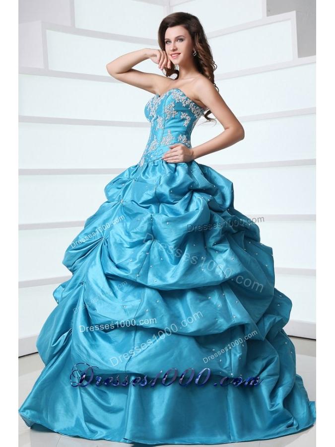 Floral Appliques and Pick Ups Aqua Blue Taffeta Sweet 16 Dresses