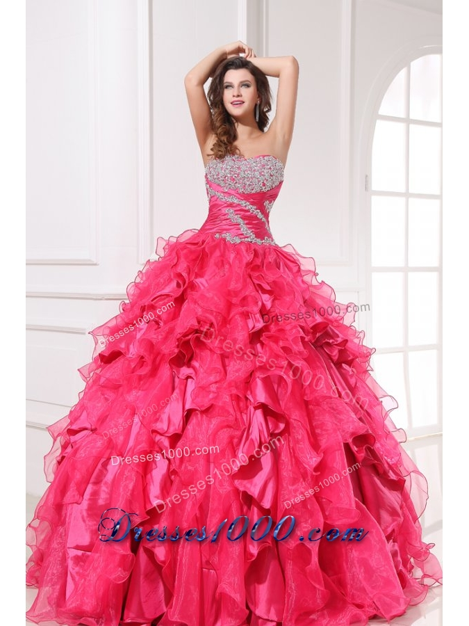 Long Hot Pink Quinceanera Party Dress with Beading and Ruffles