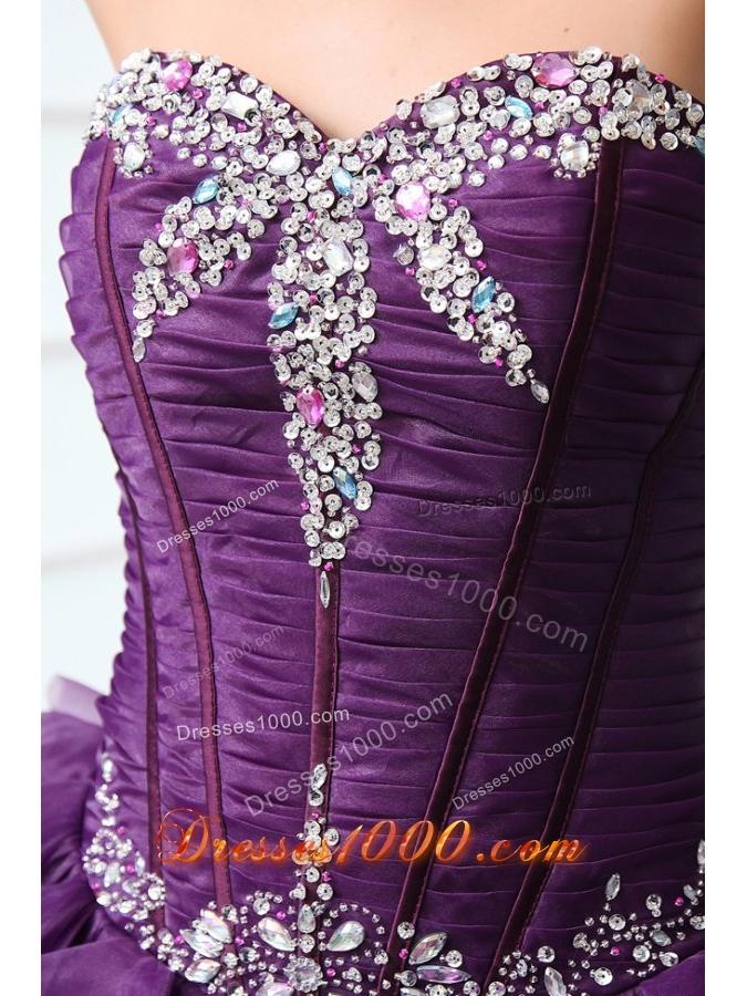 Purple Sweetheart Sweet Sixteen Dresses with Beading and Ruffles