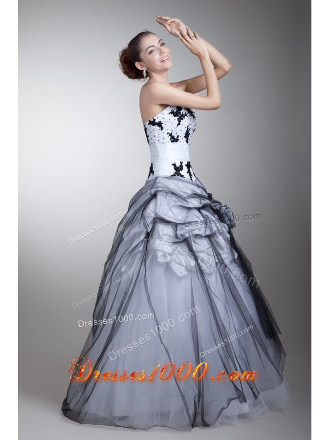 White and Black Tulle Appliqued Quinceanera Dress with Pick-ups
