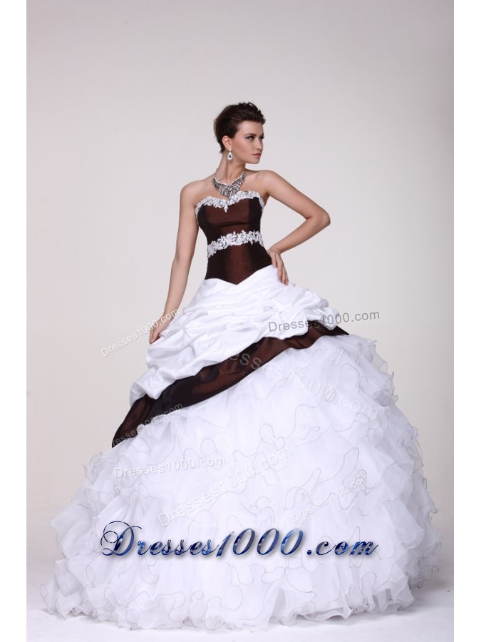 White and Brown Organza and Taffeta Ruffled Sweet 16 Dresses