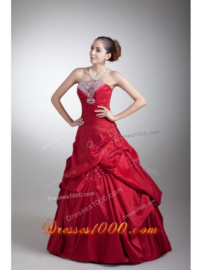 Strapless Beading and Pick Ups Red Taffeta Dresses for Sweet 15