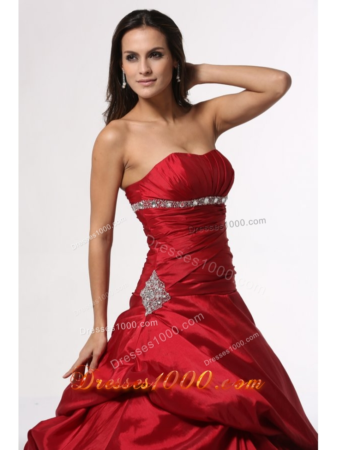 Beading and Ruching Red Taffeta Dress for Sweet 15 with Pick Ups