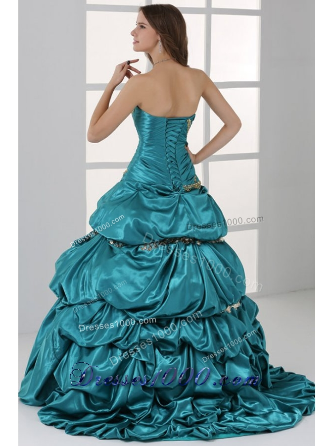 Taffeta Strapless Sweetheart Ruched Teal Quinceanera Dresses with Pick-up