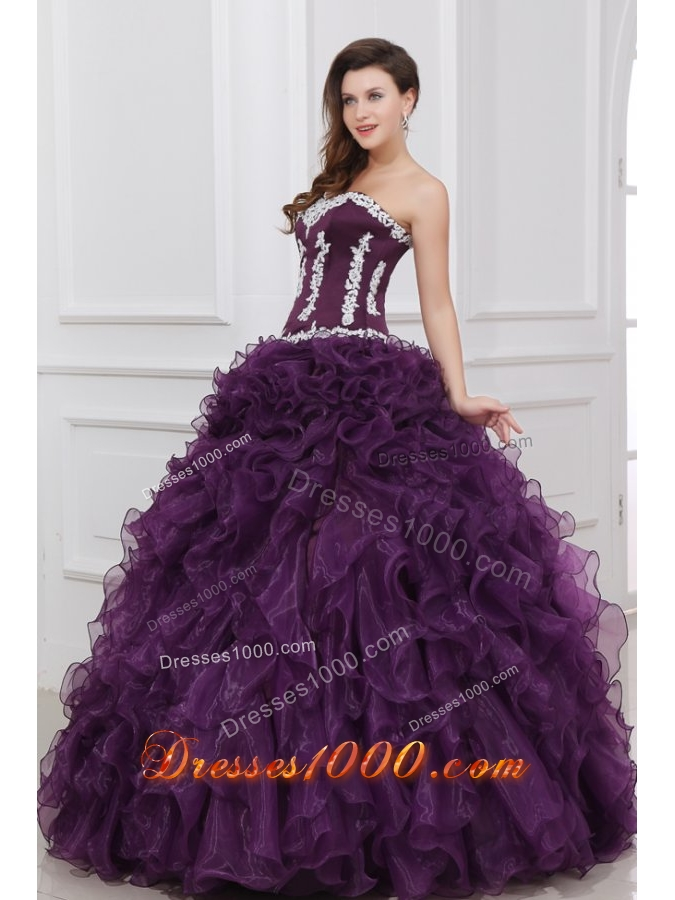 Ruffled One Shoulder Appliques Tulle Dresses for Quince in Blue