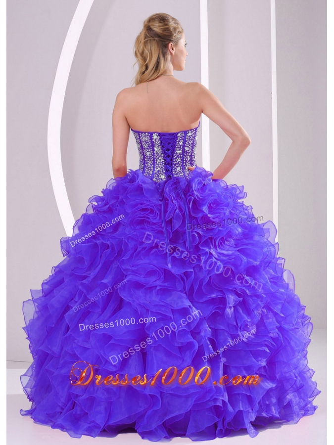 2014 Discount Ball Gown Sweetheart Ruffles and Beaing Quinceanera Gowns in Purple