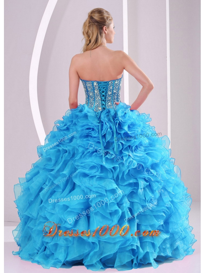 Cheap Blue Sweetheart Organza with Fitted Waist 2014 Quinceanera Gowns