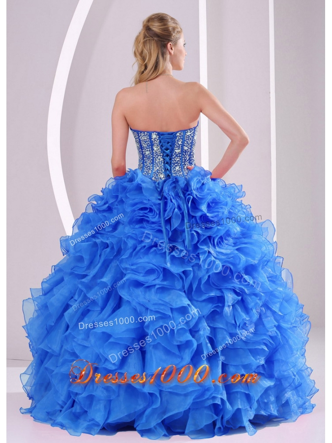 2014 Sweetheart Summer Royal Blue Quinceanera Gowns with Ruffles and Beading