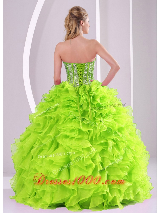 Sweetheart 2014 Spring Green Quinceanera Dress with Ruffles and Beading