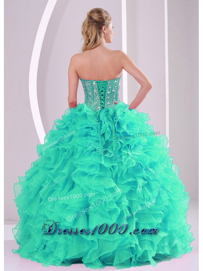 2014 Turquoise Puffy Sweetheart Oraganza Ruffles and Beading Quinceanera Gowns
