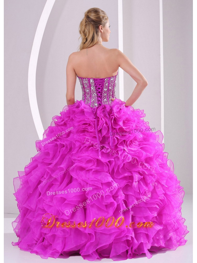 Beautiful Ruffles and Beading Long Quinceanera Gowns with Sweetheart