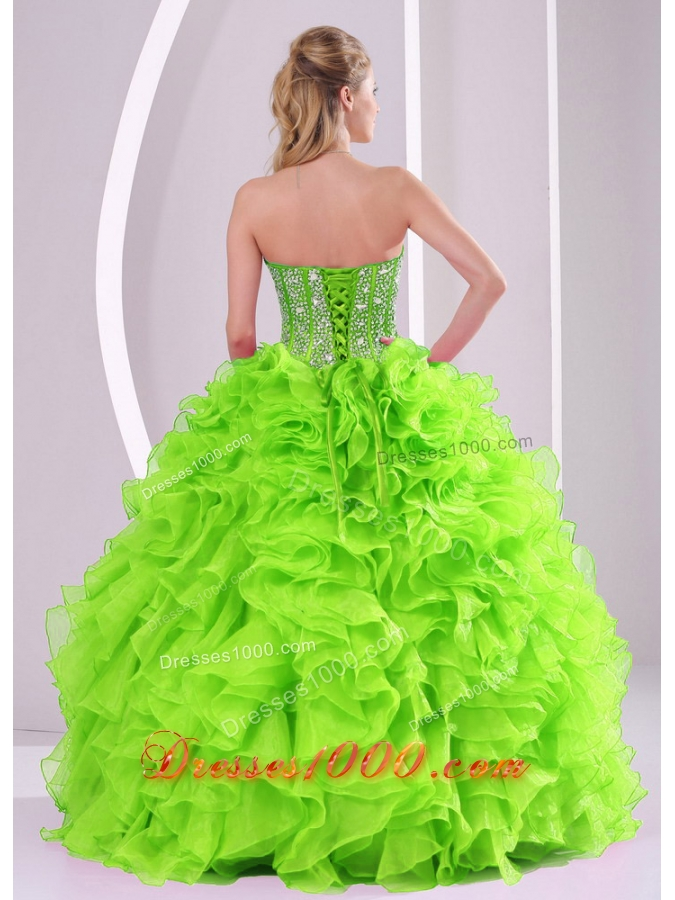 Ruffled Ball Gown Sweetheart 2014 summer Green Quinceanera Gowns with Beading