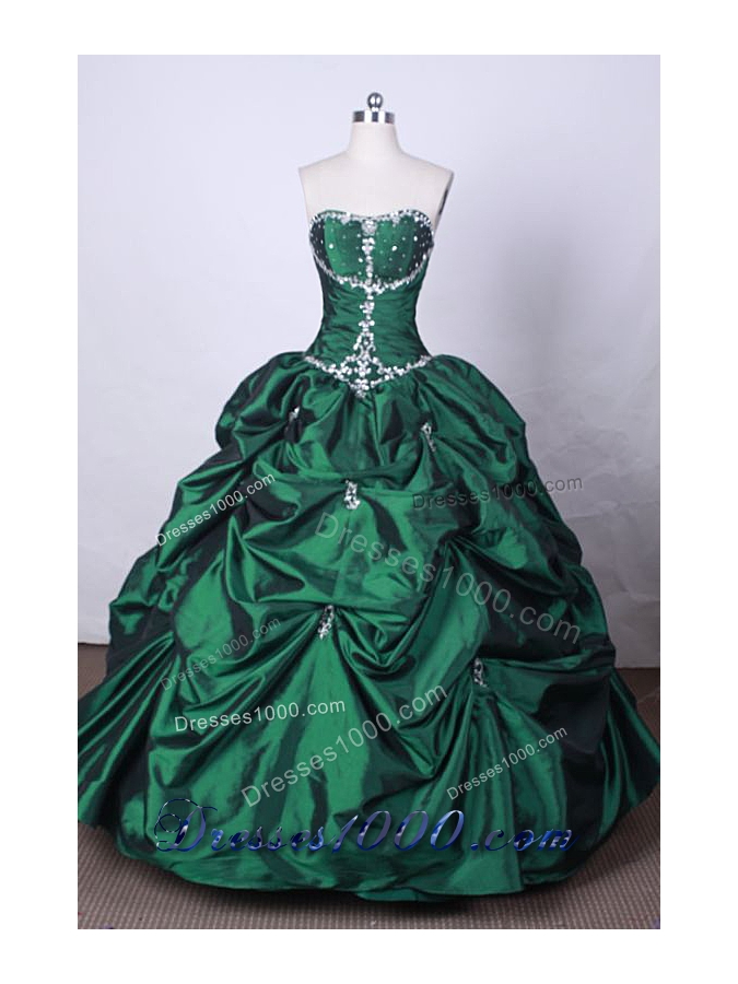 Fashionable Ball Gown Strapless FLoor-Length Green Beading Quinceanera Dresses