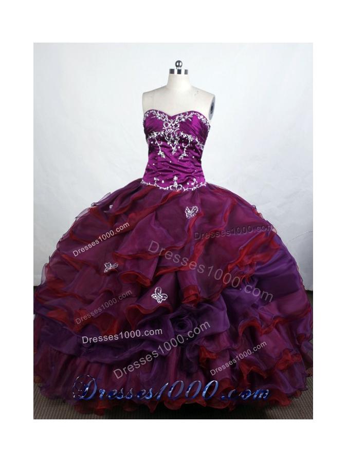 Beautiful Ball Gown Sweetheart-neck Floor-length Organza Quinceanera Dresses