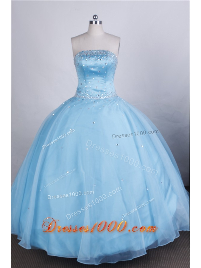 Elegant Ball Gown Strapless Floor-length Light Blue Quinceanera Dresses