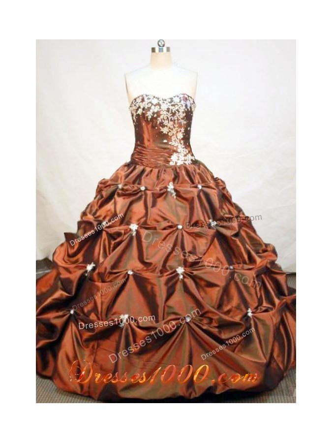 Formal Ball Gown Strapless Floor-length Taffeta Brown Quinceanera Dress