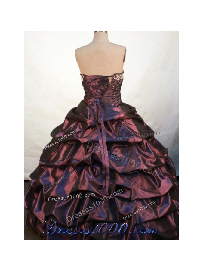 Gorgeous Ball Gown Sweetheart Floor-length Burgundy Taffeta Embroidery Quinceanera Dress