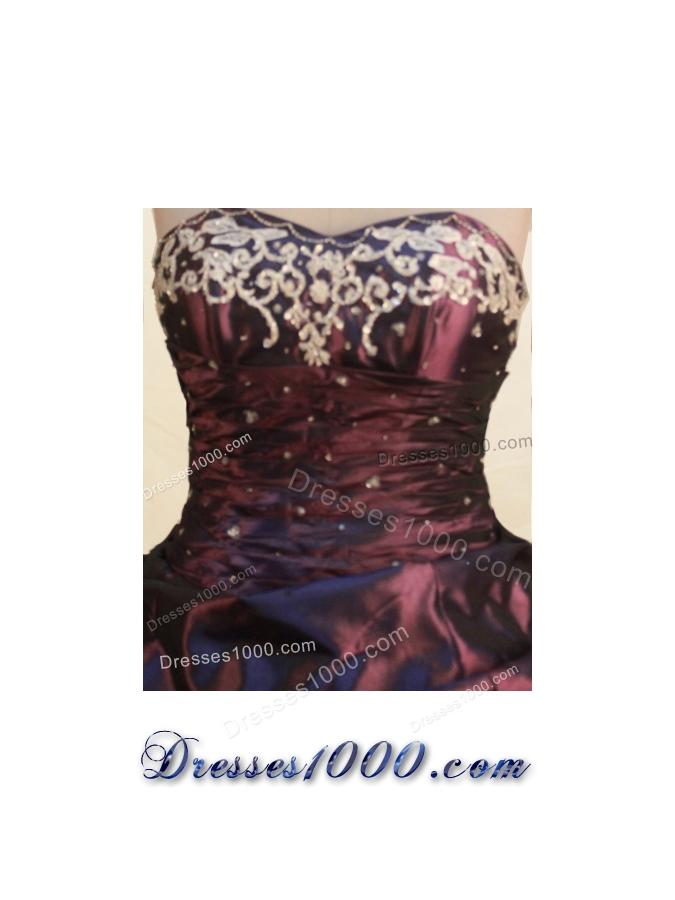 Gorgeous Ball Gown Sweetheart Floor-length Burgundy Taffeta Embroidery Quinceanera Dress