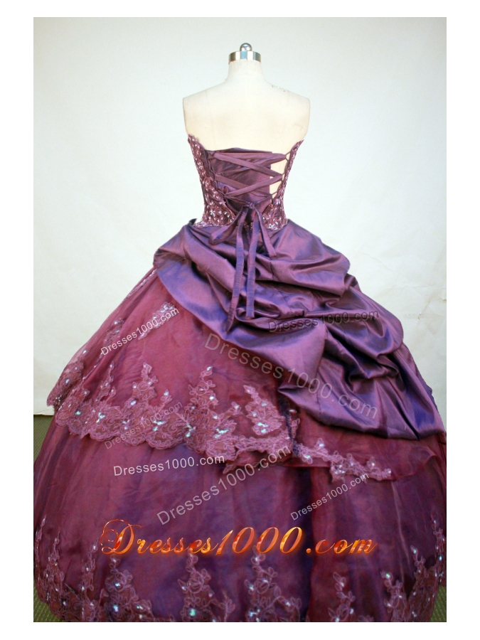 Luxurious Ball Gown Strapless Floor-Length Burgundy Beading and Appiques Quinceanera Dresses